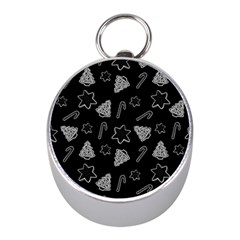 Ginger Cookies Christmas Pattern Mini Silver Compasses