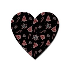 Ginger Cookies Christmas Pattern Heart Magnet