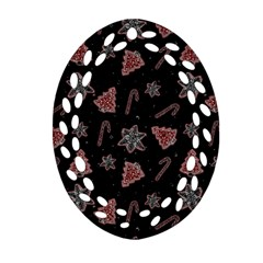Ginger Cookies Christmas Pattern Ornament (oval Filigree)
