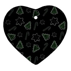 Ginger Cookies Christmas Pattern Heart Ornament (two Sides)