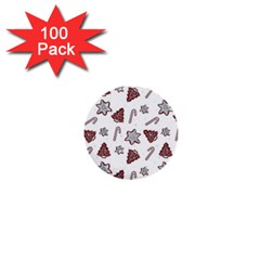 Ginger Cookies Christmas Pattern 1  Mini Buttons (100 Pack)