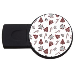 Ginger Cookies Christmas Pattern Usb Flash Drive Round (4 Gb)