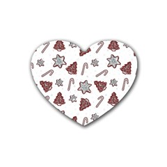 Ginger Cookies Christmas Pattern Rubber Coaster (heart)