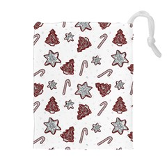 Ginger Cookies Christmas Pattern Drawstring Pouches (extra Large)