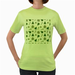 Ginger Cookies Christmas Pattern Women s Green T Shirt