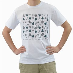 Ginger Cookies Christmas Pattern Men s T Shirt (white) (two Sided)