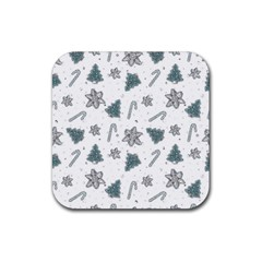 Ginger Cookies Christmas Pattern Rubber Coaster (square)