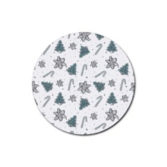 Ginger Cookies Christmas Pattern Rubber Round Coaster (4 Pack)