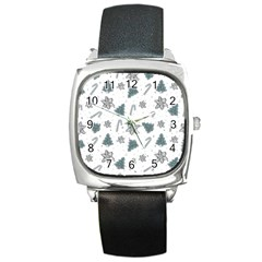 Ginger Cookies Christmas Pattern Square Metal Watch