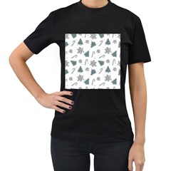 Ginger Cookies Christmas Pattern Women s T Shirt (black) (two Sided)