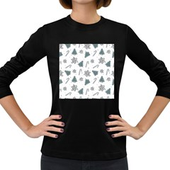 Ginger Cookies Christmas Pattern Women s Long Sleeve Dark T Shirts