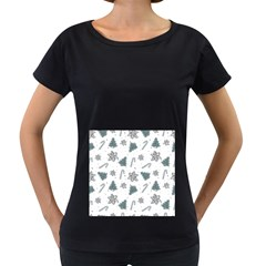Ginger Cookies Christmas Pattern Women s Loose Fit T Shirt (black)