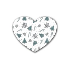 Ginger Cookies Christmas Pattern Heart Coaster (4 Pack)