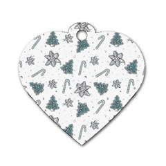 Ginger Cookies Christmas Pattern Dog Tag Heart (one Side)