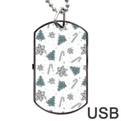 Ginger Cookies Christmas Pattern Dog Tag Usb Flash (one Side)