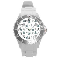 Ginger Cookies Christmas Pattern Round Plastic Sport Watch (l)