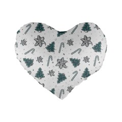 Ginger Cookies Christmas Pattern Standard 16  Premium Flano Heart Shape Cushions