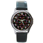 Christmas pattern Round Metal Watch Front