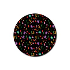 Christmas Pattern Rubber Coaster (round)