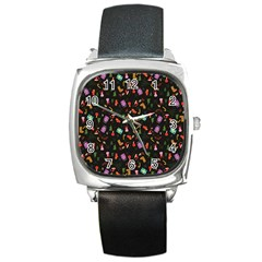 Christmas Pattern Square Metal Watch