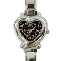 Christmas Pattern Heart Italian Charm Watch