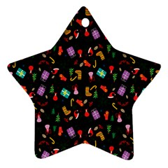 Christmas Pattern Star Ornament (two Sides)