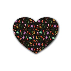 Christmas Pattern Rubber Coaster (heart)