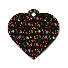 Christmas Pattern Dog Tag Heart (one Side)