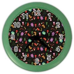 Christmas Pattern Color Wall Clocks
