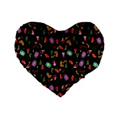 Christmas Pattern Standard 16  Premium Heart Shape Cushions