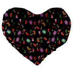 Christmas Pattern Large 19  Premium Heart Shape Cushions