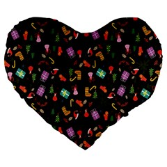 Christmas Pattern Large 19  Premium Flano Heart Shape Cushions