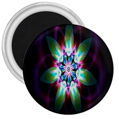 Colorful Fractal Flower Star Green Purple 3  Magnets