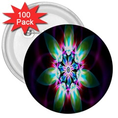 Colorful Fractal Flower Star Green Purple 3  Buttons (100 Pack)
