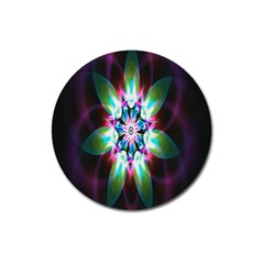 Colorful Fractal Flower Star Green Purple Magnet 3  (round)