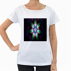 Colorful Fractal Flower Star Green Purple Women s Loose Fit T Shirt (white)