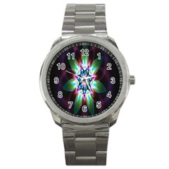 Colorful Fractal Flower Star Green Purple Sport Metal Watch