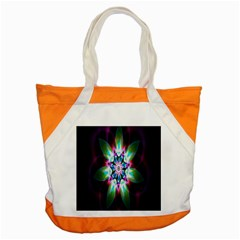 Colorful Fractal Flower Star Green Purple Accent Tote Bag