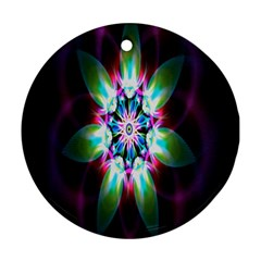 Colorful Fractal Flower Star Green Purple Round Ornament (two Sides)