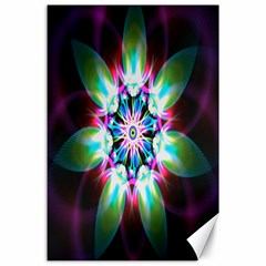 Colorful Fractal Flower Star Green Purple Canvas 24  X 36