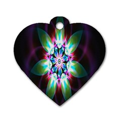 Colorful Fractal Flower Star Green Purple Dog Tag Heart (one Side)
