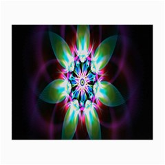 Colorful Fractal Flower Star Green Purple Small Glasses Cloth (2 Side)