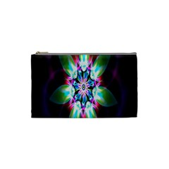 Colorful Fractal Flower Star Green Purple Cosmetic Bag (small)