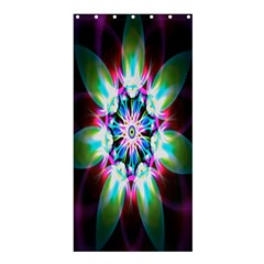 Colorful Fractal Flower Star Green Purple Shower Curtain 36  X 72  (stall)