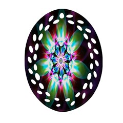 Colorful Fractal Flower Star Green Purple Oval Filigree Ornament (two Sides)