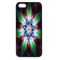 Colorful Fractal Flower Star Green Purple Apple Iphone 5 Seamless Case (black)