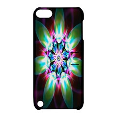 Colorful Fractal Flower Star Green Purple Apple Ipod Touch 5 Hardshell Case With Stand