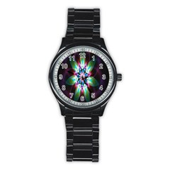 Colorful Fractal Flower Star Green Purple Stainless Steel Round Watch