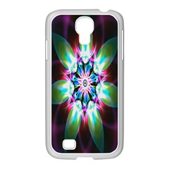 Colorful Fractal Flower Star Green Purple Samsung Galaxy S4 I9500/ I9505 Case (white)