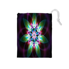 Colorful Fractal Flower Star Green Purple Drawstring Pouches (medium)